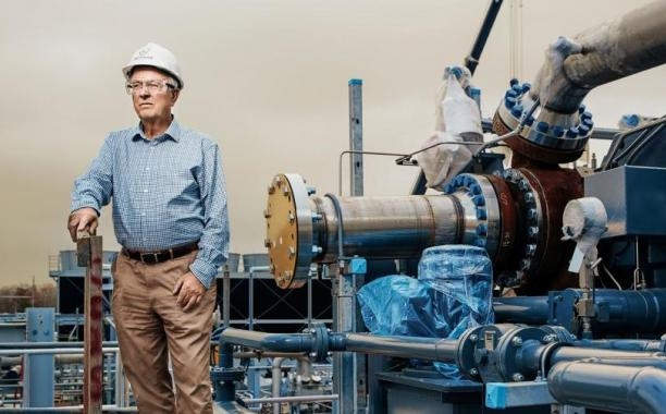 Net Power's Rodney Allam stands astride his creation: a power plant that captures its own carbon, at no extra cost. (Photo by Michael Thad Carter, for Forbes).