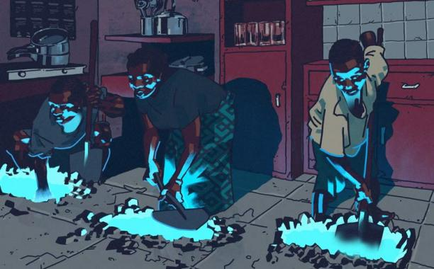 After cobalt was discovered beneath one neighborhood, Congolese began digging under their houses. Some tunnels extended into neighbors' properties.Illustration by Pola Maneli