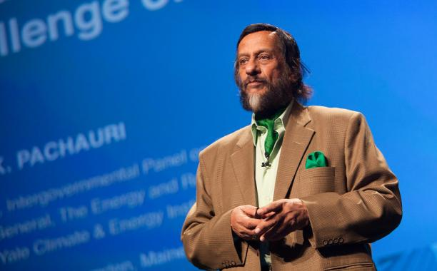 "Rajendra Pachauri, chair of the Intergovernmental Panel on Climate Change (IPCC), presents a talk on minizing risk using an ""investment strategy"" to approach global warming  photo by Kris Krüg for PopTech"