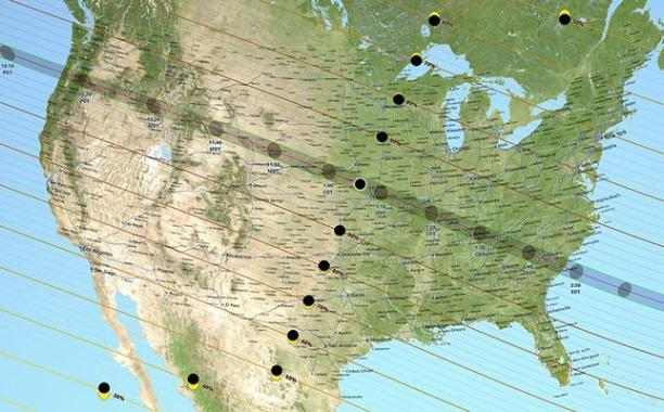 Map shows corridor across U.S. that will see total solar eclipse on Aug. 21, 2017. Other areas will see partial one.Source: NASA Scientific Visualization Studio