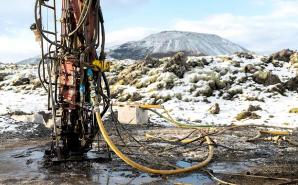 A drilling rig at the CarbFix site in Iceland, where researchers are testing whether gaseous carbon dioxide can be turned into rock as a way of keeping it out of the atmosphere. Bara Kristinsdottir for The New York Times